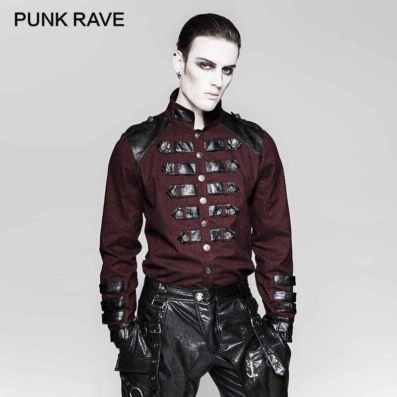 PUNK RAVE Steampunk Ilnverted Triangle boucle militaire uniforme chemises allemagne soldirement Standup col hommes chemise vêtements délicats