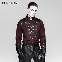 PUNK RAVE Steampunk Ilnverted Triangle Loop Military Uniform Shirts Germany Soldierly Standup Collar Men Shirt Delicate