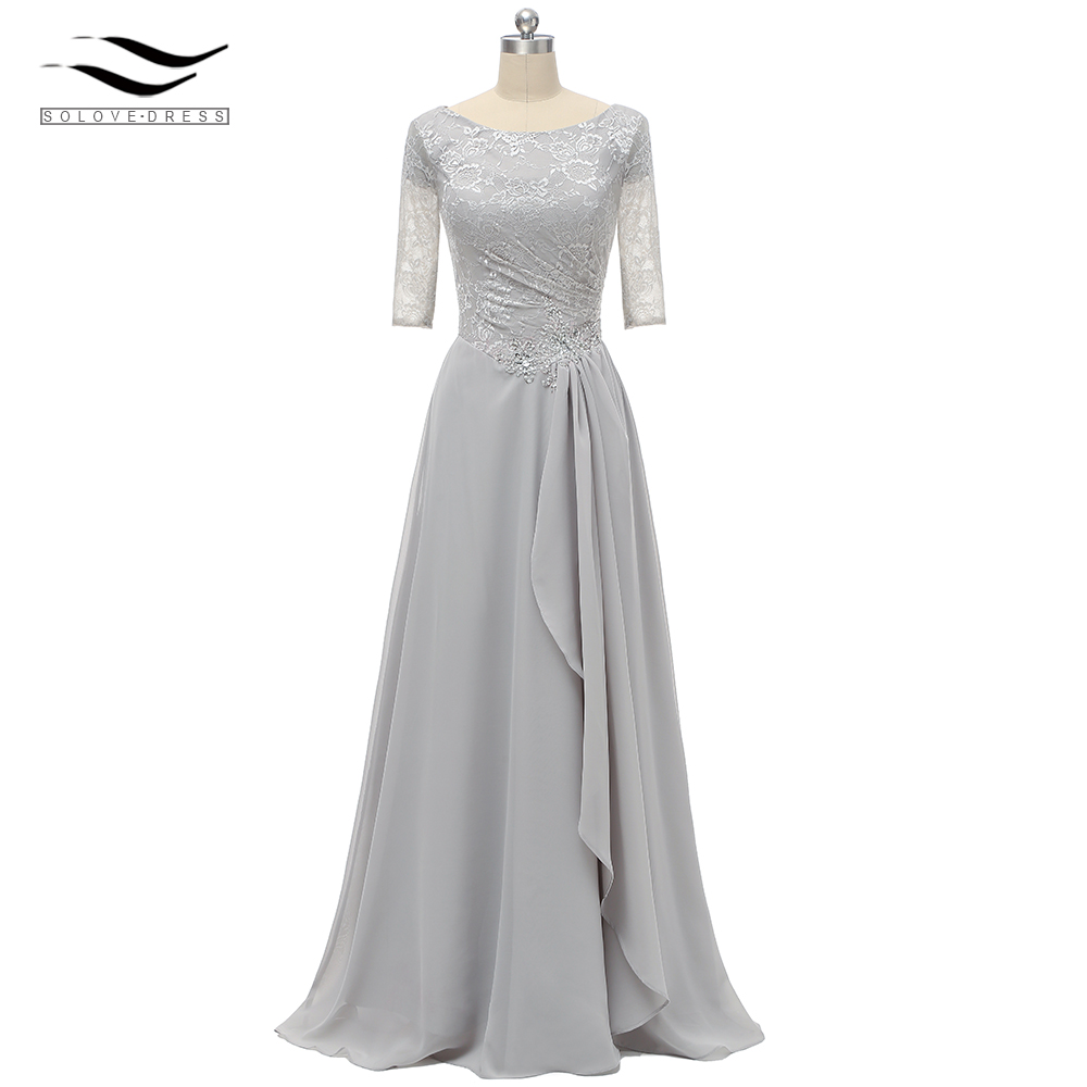 A Line Ruffles Short Half Sleeves Scoop Neck Lace Formal Evening Dress Gown Silver For Wedding