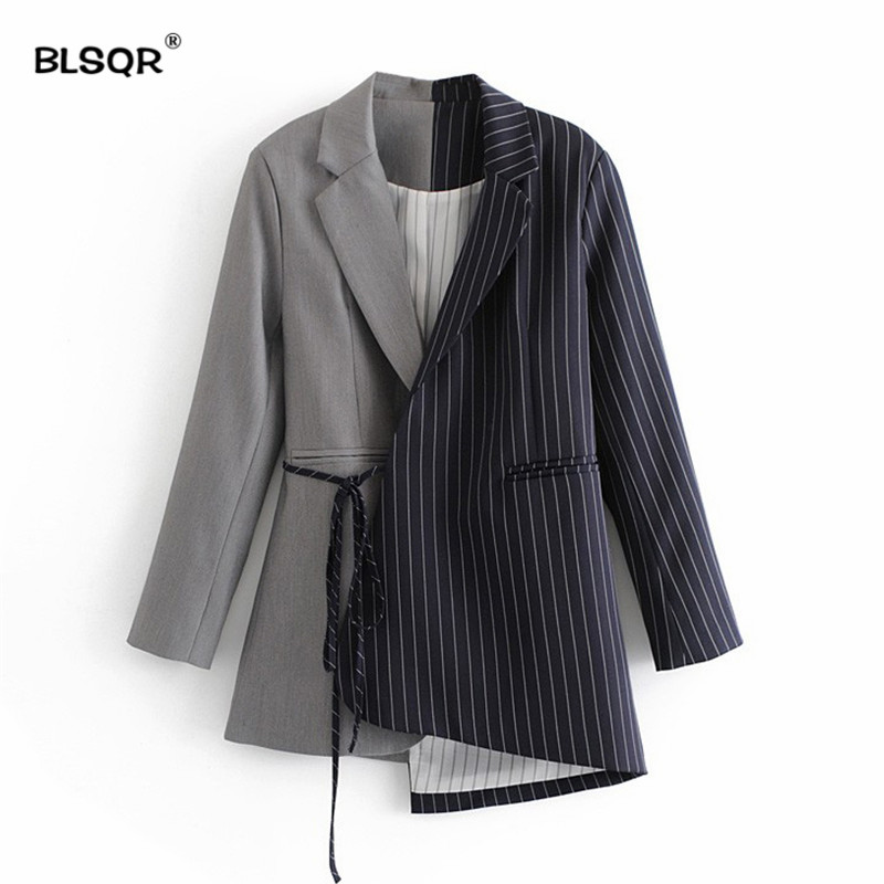 Women Stylish Striped Spliced Blazer Notched Collar Slim Lacing Up Bow Suit Jacket Coat Irregular Asymmetry Hem Outerwear Tops