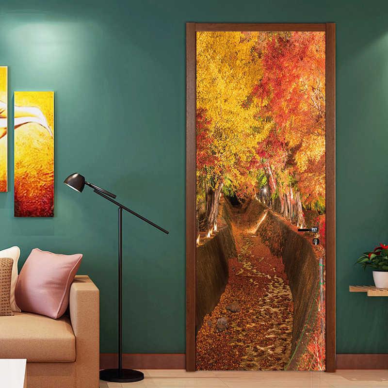 2 листа/шт 3D природный пейзаж стены двери наклейки DIY фреска спальня домашний декор плакат ПВХ водостойкие наклейки