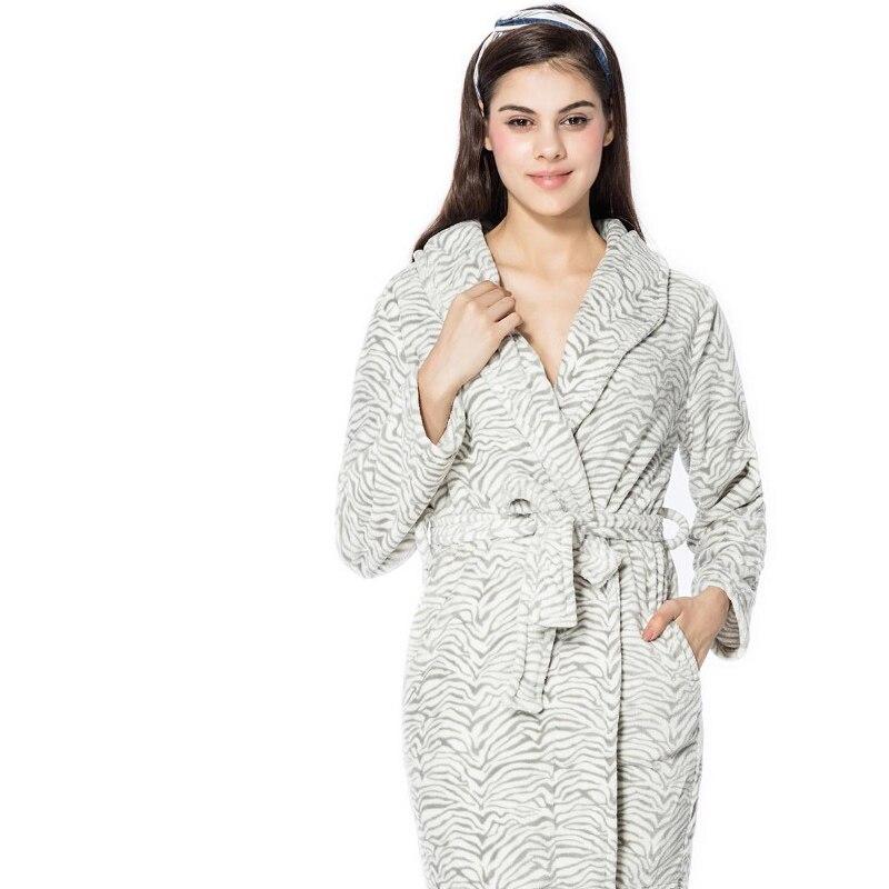FRALOSHA Bathrobe Women White stripes Warm Flannel Bathrobe Ladies ...