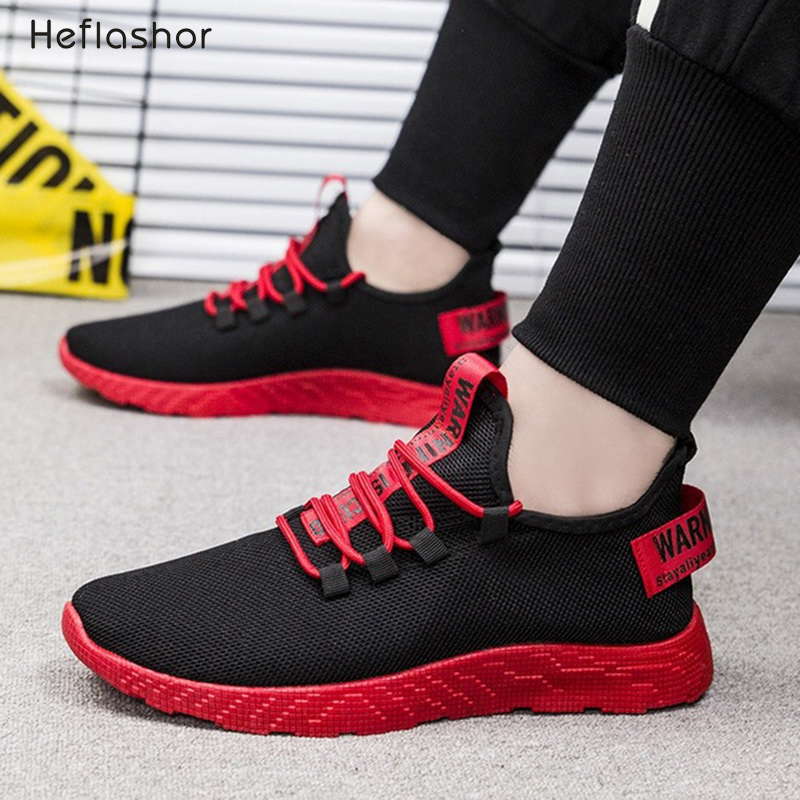 HEFLASHOR Men Breathable Sneakers No-slip Men Vulcanize Shoes Male Air Mesh Lace Up Wear-resistant Casual Shoes Tenis Masculino(China)