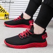 HEFLASHOR/Мужские дышащие кроссовки; нескользящая Мужская Вулканизированная обувь; Мужская износостойкая повседневная обувь из сетчатого материала на шнуровке; Tenis Masculino