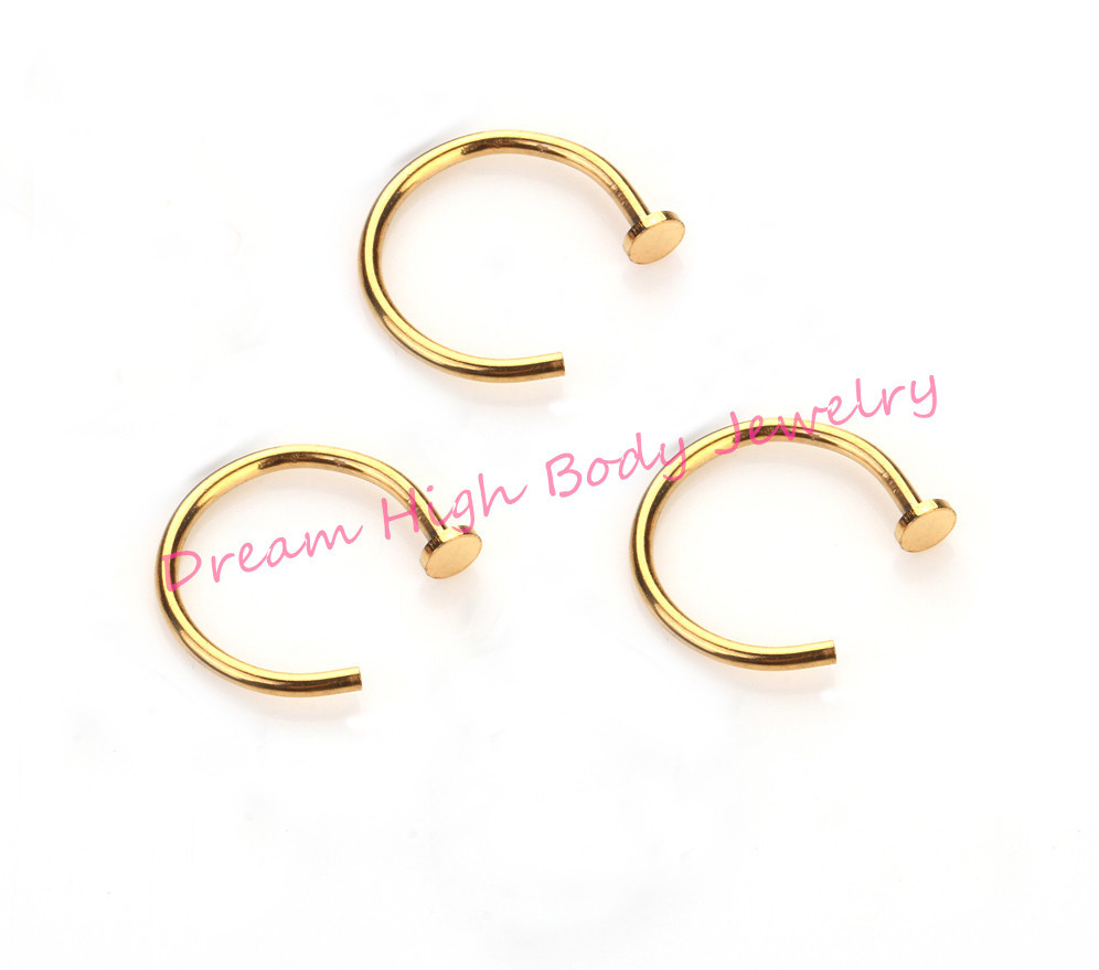 Golden Hoop Nose Rings Earring Hot Stainless Steel Body Piercing Studs Jewelry 20g or 18g diameter 6mm 8mm 10mm