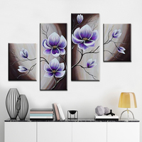 100%Hand Painted Modern Abstract Purple Flowers Landscape Art Wall Oil Painting On Canvas Scenery Home Decorative