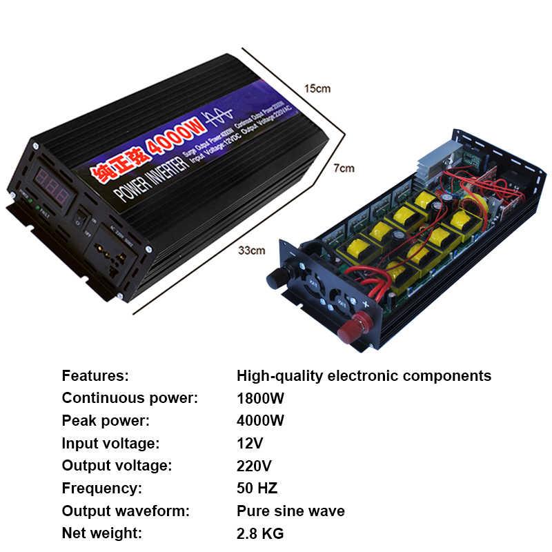 4000W 2000W saf sinüs dalgası araç invertörü güç DC12V To AC220V elektronik invertör araba taşınabilir kaynağı ev otomatik aksesuarları