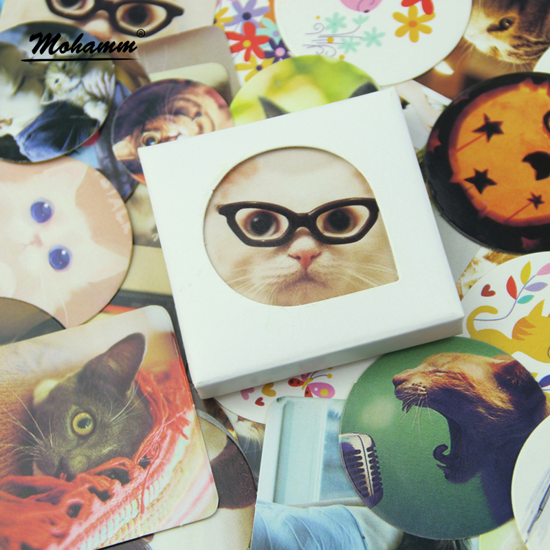 Cute Kawaii Cat Japanese Korean Round Square Perfume Bottle Diary Scrapbooking Stamp Self Adhesive Stickers Flake