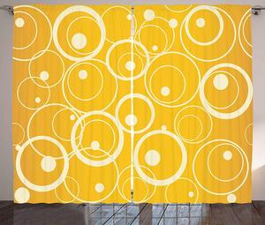 Vintage Yellow Curtains Circles and Dots Monotone Geometric Shapes with Yellow Background Living Room Bedroom Window Decor|Curtains| |  -