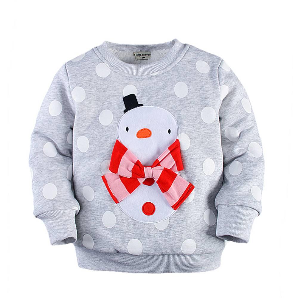 74e419dff 2-7T Toddler Girl Santa Pullover Sweatshirt Graphic Snowman Bowknot Santa  Clothes Thick Cotton Thermal