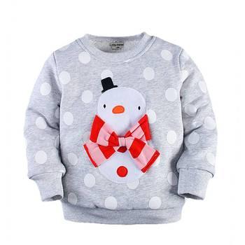 2-7T Toddler Girl Santa Pullover Sweatshirt Graphic Snowman Bowknot Santa Clothes Thick Cotton Thermal Santa Pullover Coat Kids