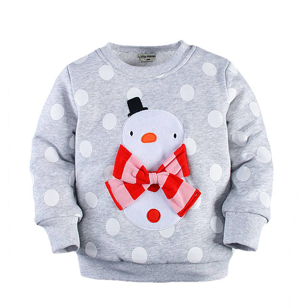 2-7T Toddler Girl Santa Pullover Sweatshirt Graphic Snowman Bowknot Santa Clothes Thick Cotton Thermal Santa Pullover Coat Kids
