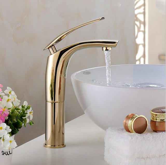 Bathroom Tall Classic Retro Golden Bathroom Basin Faucet Brass - Brass colored bathroom faucets