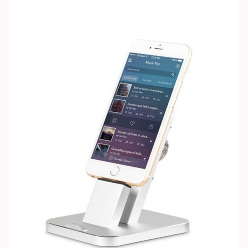 1Pcs High Quality Aluminium alloy Metal Charging for iPhone 5 6s 7 plus Mobile Phone Dock Desk Holder Stand Charge Free Shipping