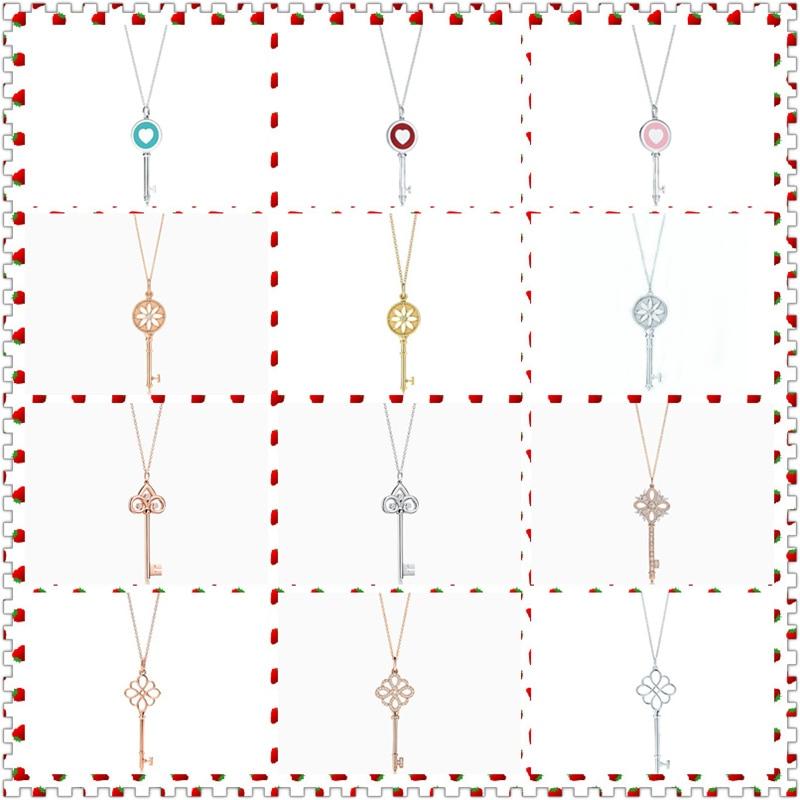 SHINETUNG Original 100% S925 en argent Sterling coloré charmant collier pendentif série clé femmes Logo Romance bijoux haut de gamme