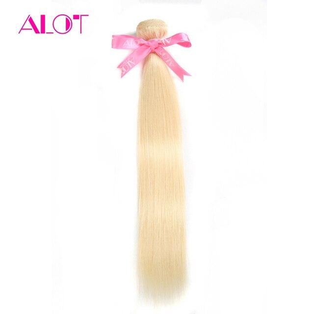 ALOT Brazilian Human Hair Weaving 613 Honey Blonde Straight Hair Bundles 1PC NonRemy Hair Bundles 12-24Inch Can Buy 3-4 Bundles