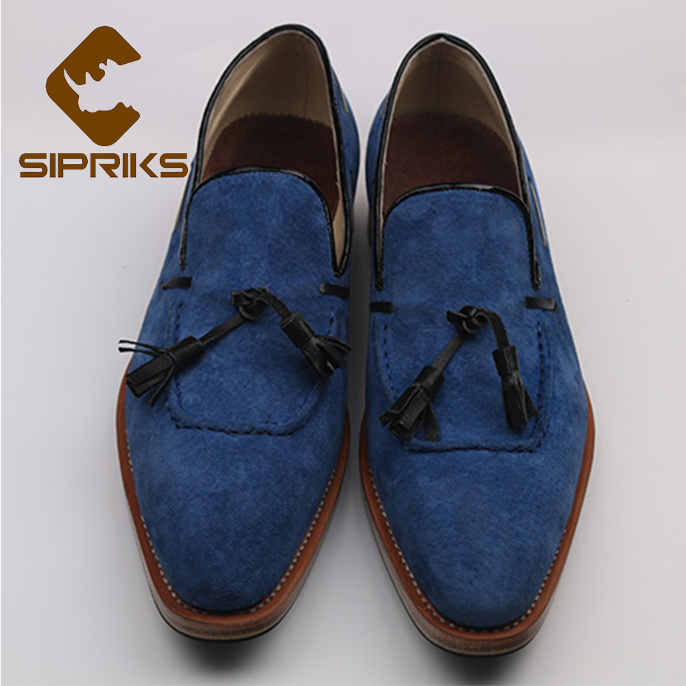 Sipriks Luxury Brand Mens Goodyear Welted Loafers Shoes Elegant Tassels Loafers Italian Mens Designer Loafers Blue Dress Loafers 2016 luxury mens goodyear welted oxfords shoes vintage boss brogue shoes italian mens dress shoes elegant mens gents shoes derby
