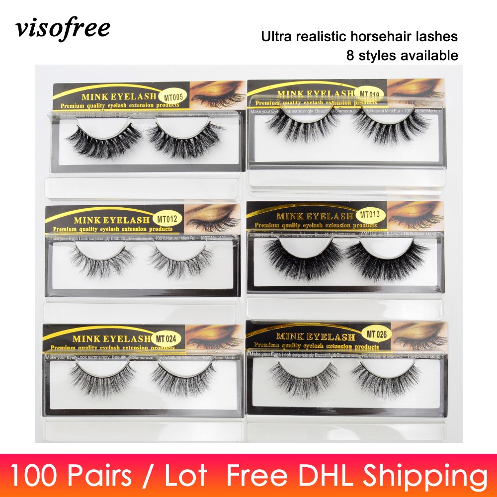 100pairs lot Free DHL Visofree Eyelashes Handmade Natural Horse Hair Lashes Thick Soft Cross 3D False