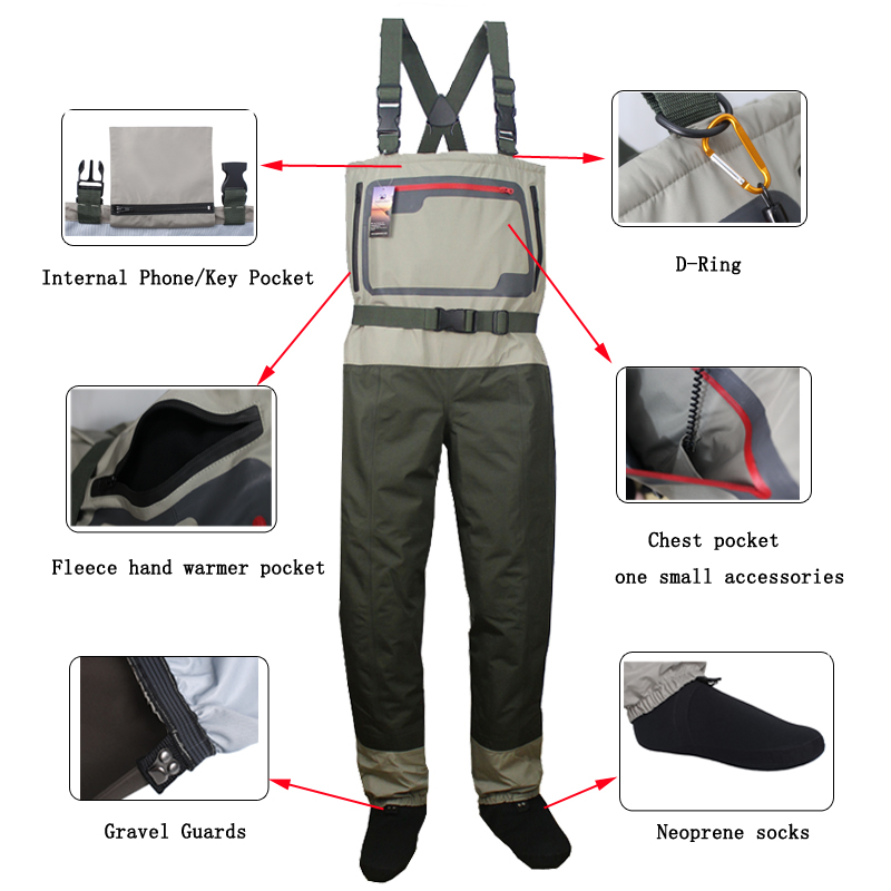 Men's Lightweight  Chest Waders Breathable Stocking Foot Wader  Free shipping 2