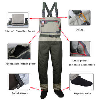 Men\'s Fishing chest waders Breathable Stocking foot Wader Light weight Convertible Hunting Wading Pants kit For Fly Fishing