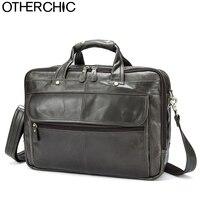 OTHERCHIC 3 Layers Brand Portfolios Briefcase Genuine Leather Business Bag Vintage Men Messenger Bags Lawyer Handbags