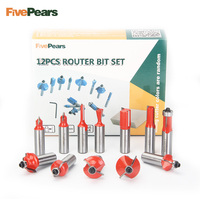 FivePears 12pcs 1 2 Router Bits Set Professional Shank Tungsten Carbide Router Bit Cutter Set With
