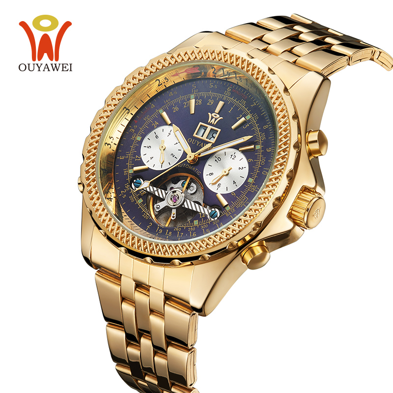 Men Watches 2017 Luxury Brand Automatic Mechanical Watch Men Gold Tourbillon Male Complete Calendar Clock Wristwatch 2017 gold watches men automatic watch day date calendar display high quality mechanical tourbillon watch luxury brand clock male