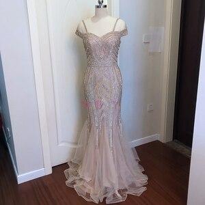 Image 3 - אירוסין ערב שמלות אלגנטי מפלגה חרוזים ריינסטון רוז זהב בת ים קצר שרוולים ספגטי רצועה ארוך נשף שמלה פורמלית