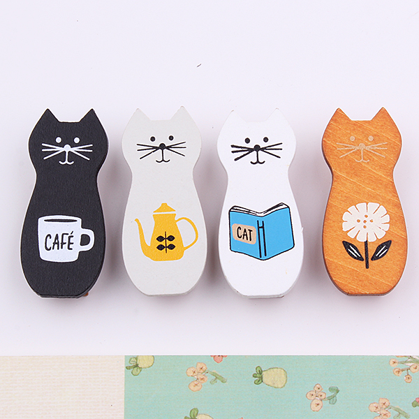 4pcs/set Cute Cat Wooden Clips Decoration Magnet Photo Memo Clip Wood Material Craft Stationery Supplies (ss-1695)