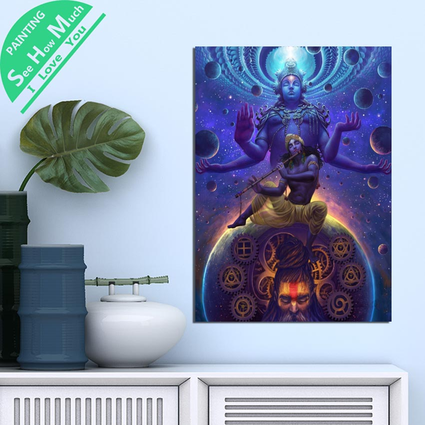 1 Piece Brahma Vishnu Shiva God HD Printed Canvas Wall Art Posters and Prints Poster Painting Framed Artwork Room Decoration