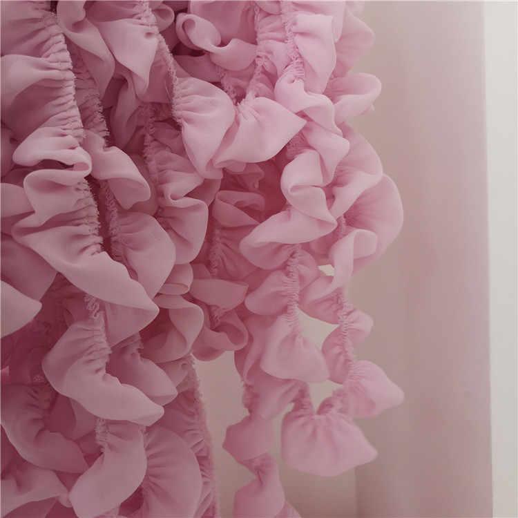 3.5 CM di Larghezza A Doppio Strati Bianco Rosa 3D Pieghettato Chiffon Del Merletto Del Vestito Del Nastro Del Collare Ruffle Trim Cucito FAI Da TE Decorazione Guipure forniture