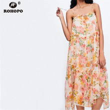ROHOPO Sleeveless Bow Tie Pleated Ruffles Midi Dress Floral Preppy Style Strapless Summer Chiffon Pink Multiways #OYK9725