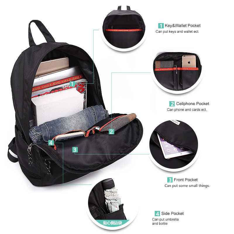 KAKA Повседневный Женский Мужской рюкзак для ноутбука USB зарядка водонепроницаемый мужской рюкзак Mochila черный школьный рюкзак сумка для подростков