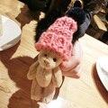 2016 Handmade Cute Mini Plush Bear Keychain Animal Key Chain Car Key Ring Hand Bag Accessories Pendant