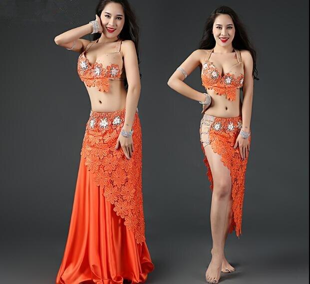 4 Piece Women Morden Orinetal Dance Costume Drum Dance Performance Show Lace Clothes Top Long Skirt
