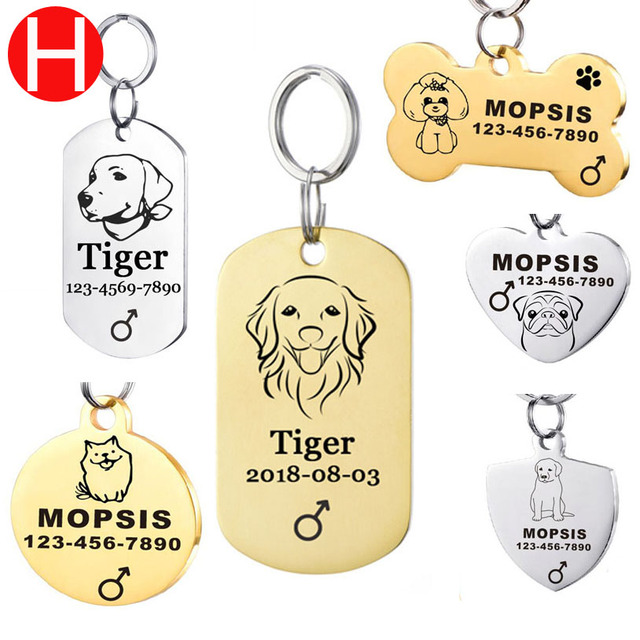 In Acciaio Inox Dog Tag ID Per Golden Retriever La cani Pet Id Tag Su il Collare
