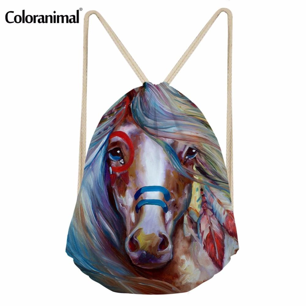 Coloranimal Horse Painting Print Women Men Drawstring Bag Basketball String Backpack Teenager Girl Boy Casual Storage Sack Pack