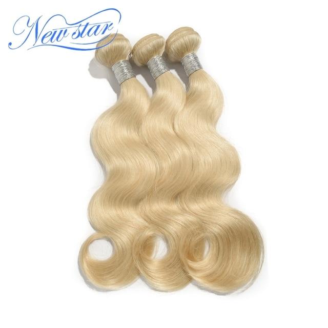 New Star hair  #613 bleached platinum Blonde Brazilian virgin Human Hair body wave weaves wavy extensions machine weft 3 bundles