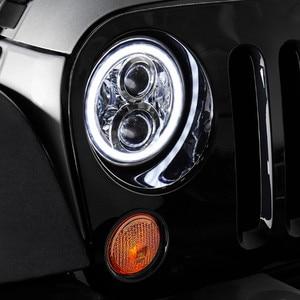 Image 4 - Hummer için H1 H2 Led far 60w 7 inç LED farlar yüksek düşük işın melek göz DRL Amber dönüş sinyal Jeep Wrangler JK için lamba
