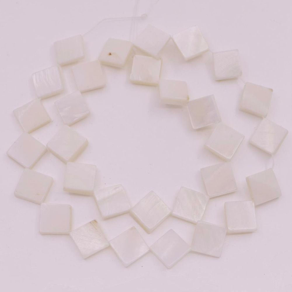 Купить с кэшбэком White Mother of Pearl Shell Loose Beads Heart Coin Square Flower Shape Choose