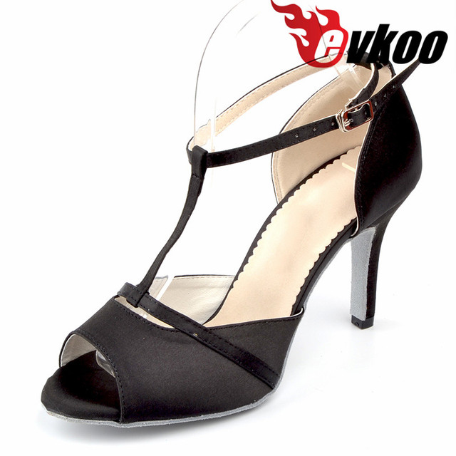 Evkoodance Black Satin Dancing Shoes Heel Height 8.5 cm Size US 4-12  Professional Dance Shoes For Women Evkoo-505 a2bb0862fb72