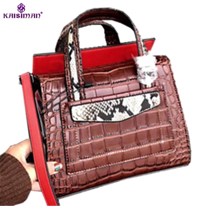 2018 Luxury Brand Women Handbags Snake Crocodile Pattern Genuine Cow Leather Famous Designer Handbag Vintage Ladies Tote Bag Sac