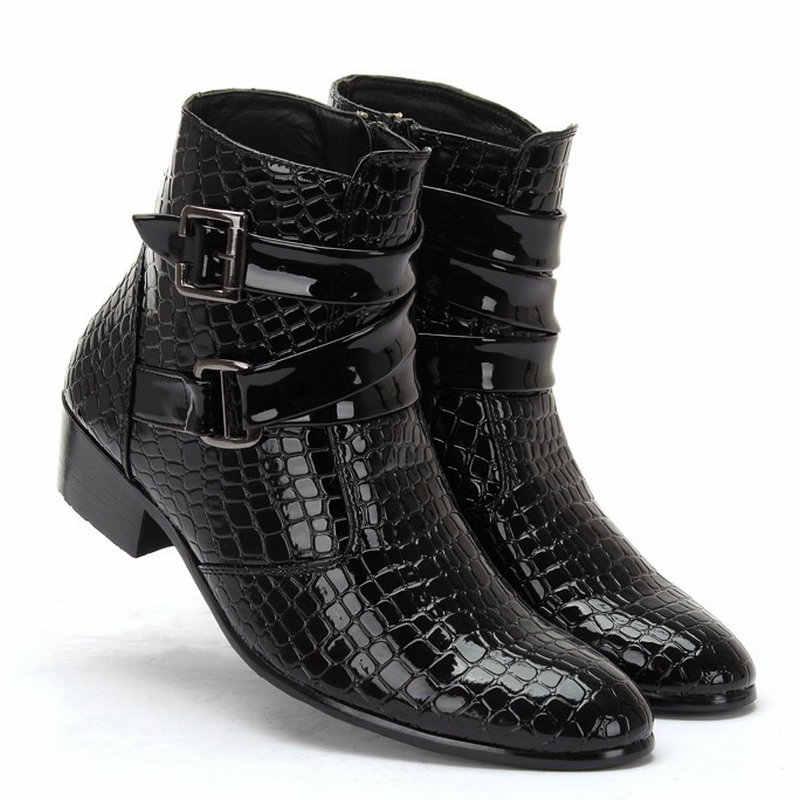AT UR/мужские ботинки; Модные ботильоны с острым носком; повседневная обувь из лакированной искусственной кожи; размеры 39-44