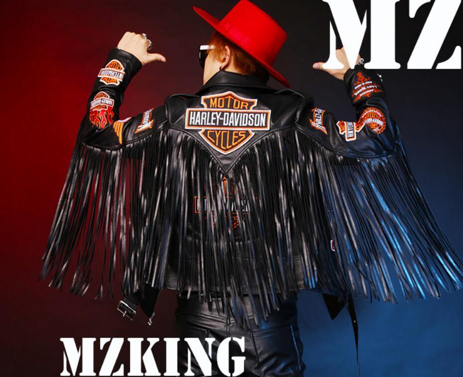 Long Tassels Flame Buiter Locomotive font b Leather b font font b Jacket b font Costumes