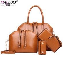 Malluo 4 unids/set vintage bolsos de venta caliente de las mujeres bolsas de mensajero bolso femenino bolsa de hombro office lady casual patrón de bolso de mano