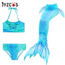 купить JYZCOS Kids Mermaid Costume Bikini Girls Mermaid Cosplay Summer Beach Swimwear Mermaid Tail Swimsuit Flipper for Children по цене 1141.1 рублей