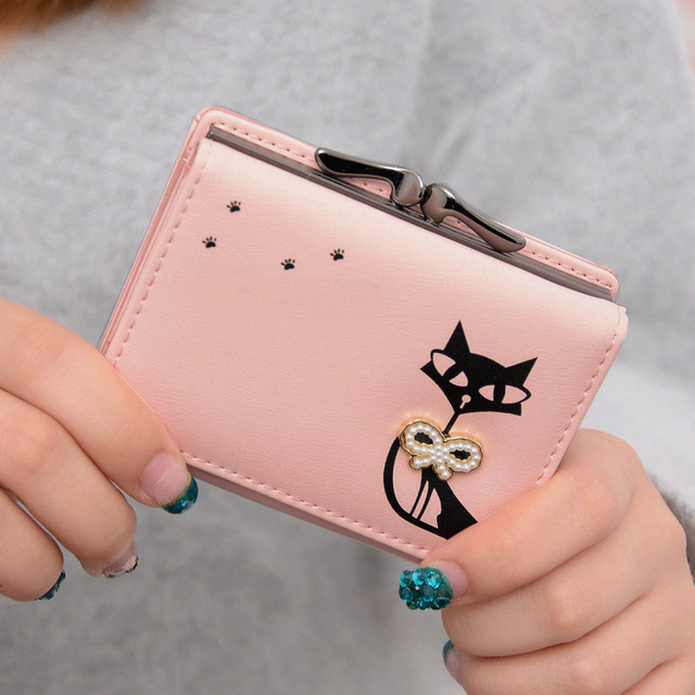 Women Small Money Clips Fashion PU Leather 2016 Women Wallets With A Cute Cat Set 6 Color Available Money Purse For Girls
