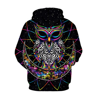 Women Men 3D Printed Hoodies Galaxy Moon Owl Art Monkey Clown Paint Plum Blossom Gun Brand Sweatshirt Hooded With Pocket Tops 1