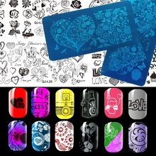 New Designs Nail Stamping Plates  Love Valentine's Day Design Beauty DIY  Nail Gel Rectangular Stamp Polish Stencils For Nails