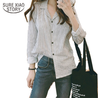 Fall 2017 New Arrival Women Blouse Fashion Shirt Long Sleeve Blouse Stripped Blouse Office Lady Blouse